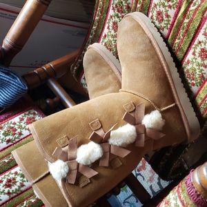 Kookaburra by UGG brown bow boots mid calf
